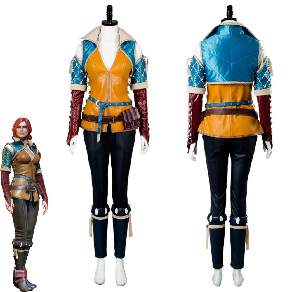 The Witcher 3 Wild Hunt Triss Cosplay Costume Outfit Adult Women Full Suit Halloween Cosplay Costumes