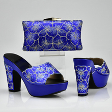 New Arrival Royal Blue Shoes and Bag Set Decorated with Rhinestone Nigerian Women Wedding Shoes and Bag Set Italy Shoes and Bag(China)
