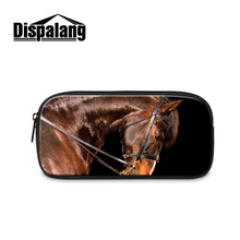Horse Animal Print Beauty Travel Cosmetic Bag School Stationary Children Pencil Bag Students Office School Supplies Pencil Case(China)