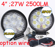 "Only 18USD/PCS,4"" 27W 2500LM 10~30V,6500K,LED working light;Free ship!Optional wire;motorcycle light,forklift,tractor light(China)"