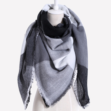 Drop shipping 2017 Winter Scarf Women Plaid Cashmere Triangle Women Scarf Warm wrap Shawls and Scarves(China)