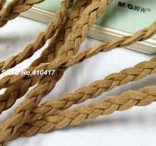 100yards/lot Suede Leather Jewelry Cord Approx 6mm Width Light Brown Color Flat Braided Cord For DIY Jewelry Making(China)