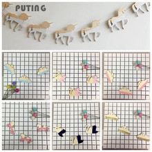 Unicorn Clouds Swan Woodchips Set DIY Wood Banner Wall Hanging Photography Props Decor For Kids Bedroom Wall Decor GPD8191(China)
