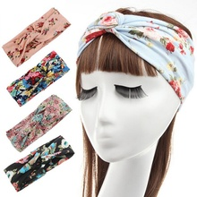 Bohemia chintz cross hair band headband children woman Flower Headwrap Stretch Headdress Vintage Head Wrap Photo Prop FD6547