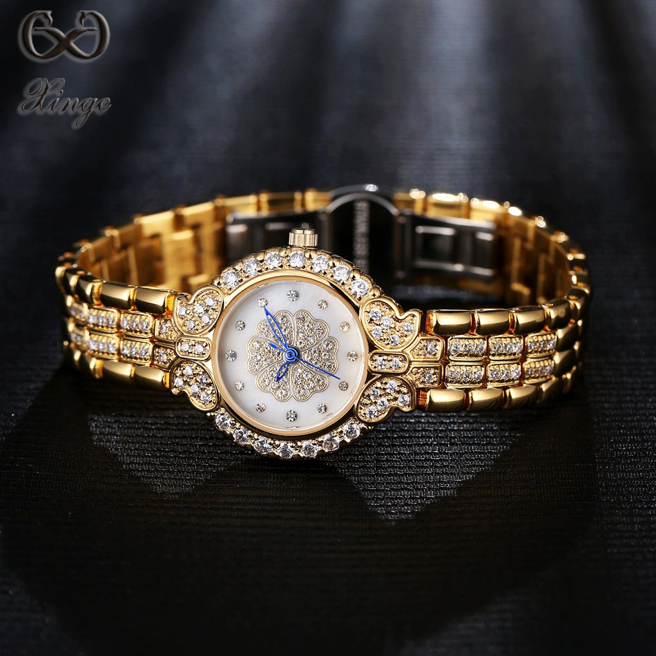 Xinge Brand Luxury Watch Fashion Women Bracelet Wristwatch Stainless 3A Zircon Crystal Quartz Watch Women Dress Business Watch<br>