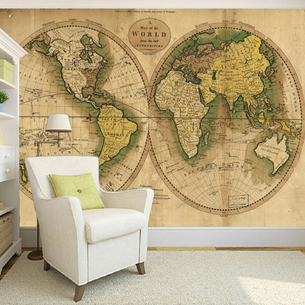 Custom Wallpaper Printing Home Wall Decor Picture Retro World Map Wallpapers For Living Room 3D Retro Photo Wallpaper Murals 3D<br><br>Aliexpress