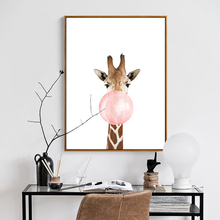 Nordic White Based Animal Mural Picture Giraffe Zebra Chewing Gum Canvas Wall Paper Cute Art Poster for Children Room Home Decor