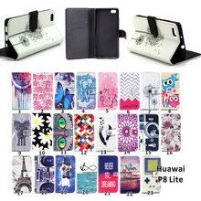 Luxury Painting PU Leather Case For Huawei Ascend P8 Lite 2015 P8 mini Smile Bear Elephants Flip Wallet Stand Cover Phone Cases