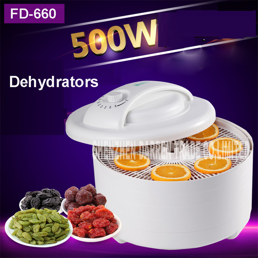 500W FD-660 Home Food Dehydrator Fruit Vegetable Herb Meat Drying Machine Snacks Food Dryer Fruit dehydrator with 5 trays ABS<br>