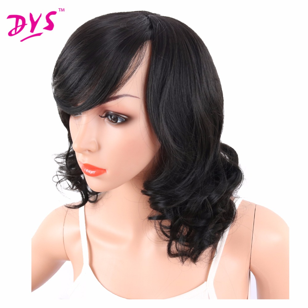 Deyngs Big Curly Synthetic Wigs with Bangs Japanese Kanekalon Fiber Heat Resistant Full Wigs for Women Girls Lady Natural Black (4)