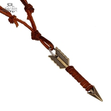 Cowboy Handmade Golden Arrow Pendant Necklaces Brown Genuine Leather Necklace Men Fashion Jewelry