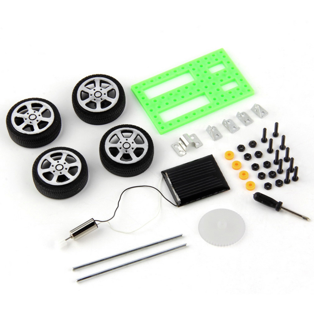 Mini Plastic Handmade Solar Powered Toy DIY Car Kit Children Technology Educational Gadget Hobby Funny Kit 8-11 Age