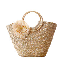 Round Wood Handle Summer Straw Beach Bags Flower Design Shoulder Tote Bag Women Handbags Shopper Bag travel for vacation L236