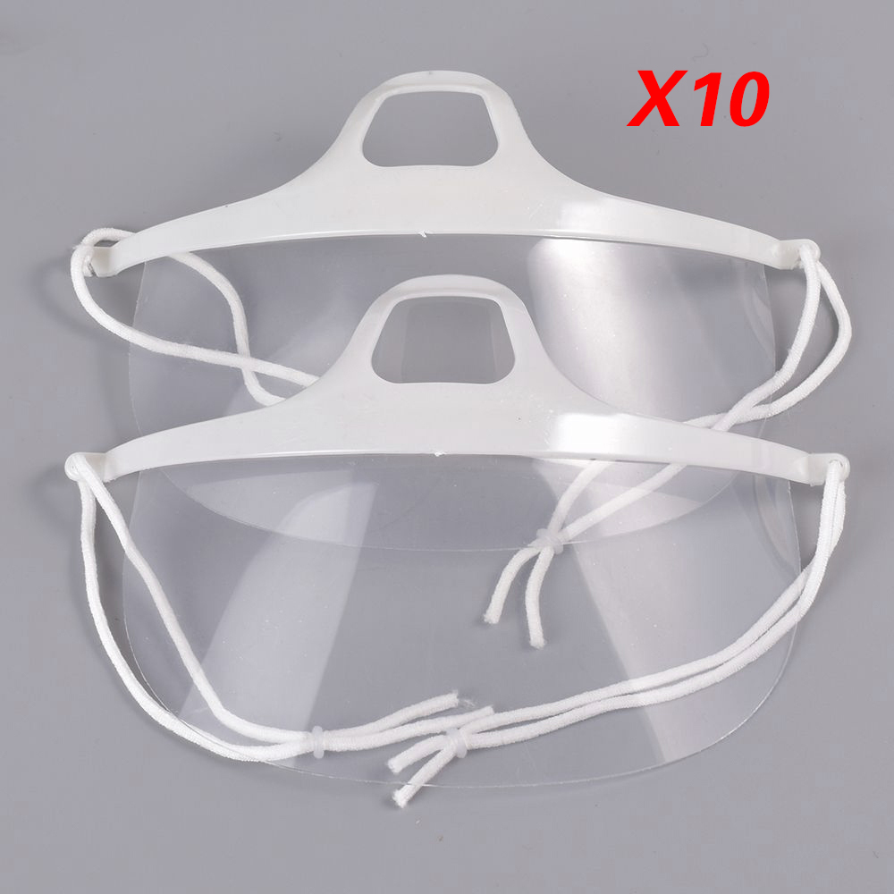 10pcs Durable Use Hotel Kitchen Transparent Catering Mask Anti Fog