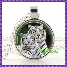 Silver Glass Picture White Tiger Pendant Necklace Rare Stylish Wild Animal charm amulet New Fantasy Jewelry fashion jewelry