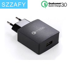 SZZAFY 18W Fast Quick Charge 3.0 USB Wall Charger EU/US Mobile Phone Charger for Samsung S7 Xiaomi 5 Huawei Tablet