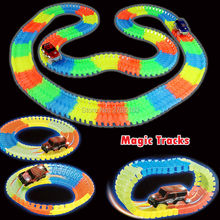 DIY  Flex Glow Magic Track Electric LED Light Up Racing Car  Funny Bricks Flex Rail Car Vehicles Educational Toys For Children