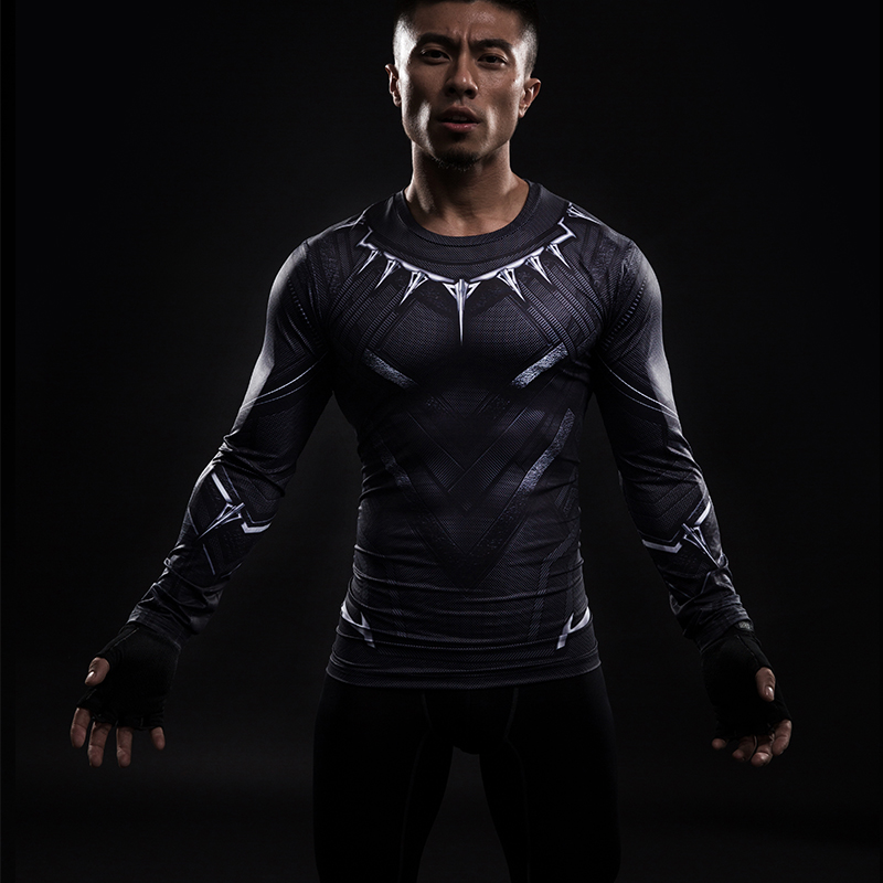 Black Panther 3D Printed T-shirts Men Compression Shirt Captain America long Sleeve Cosplay Halloween Costume Men Tops Male