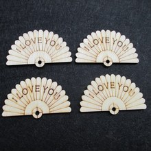 30PCS Wooden fan embellishment figure wedding decoration accessory marriage supply diy craft accessory scrapbook material(China)