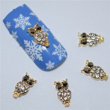 10pcs 3d nail jewelry decoration nails art glitter rhinestone for manicure  Golden Owl design nail accessories tools #294