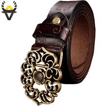 Vintage Belt Woman Genuine Leather Second Laye Cow skin strap Fashion Floral Buckle Belts For Women High Quality jeans girdle(China)