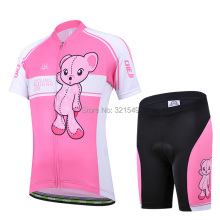 2017 CHEJI Pink Bear Cycling Bike Short Sleeve Clothing Bicycle Children Jersey For Kids Ropa Ciclismo Cartoon Girl Cycling Wear