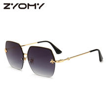 0eb5dc5997 Women Sunglasses Brand Designer Square Metal Eyewear Honey Bee  AccessoriesGradient Colors Lenses Driving Goggles UV400
