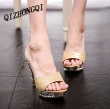 Hot sale Summer woman sandals Big Size 35-39 genuine leather slippers good quality Diamond thick high-heeled female shoes