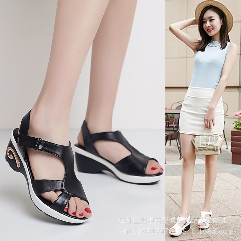 Genuine Leather Open Toe Large Size 40-42 Sandals 2017 Summer Womens Shoes  New Female Sandals Casual Mother Sandals <br><br>Aliexpress