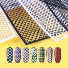 Fish Scale Nail Vinyls Adhesive Ultra-thin Plaid Net Line Hollow 3D Nail Stencil Sticker for Manicure Nail Art Decoration(China)