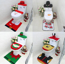 New Brand 3Pcs/Set Bathroom Christmas Toilet Seat Cover Christmas Decorations For Home Santa Snowman Eco-Friendly Warehouse(China)