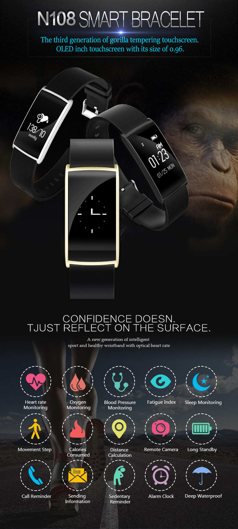 Fitness Tracker Smart Bracelet Blood Pressure Blood Oxygen Heart Rate Fatigue Monitor Wristband Sports Smartband for Phones 1