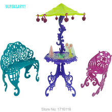 Amusement Bar Couch Chairs Table Dessert Sun Umbrella Kid Toy Dolls House Furniture For Monster High For Barbie Doll Accessories(China)