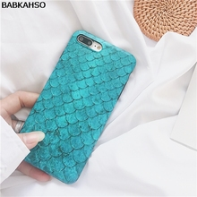 BABKAHSO Ins trend blue scales Case for iphone X 7 7Plus Ocean Summer Case For iphone 8 8plus 6 6s 6Plus girl style(China)