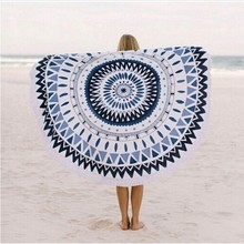 Microfiber Circle Beach Towel With Tassels Reactive Printing Travel Towels De Plage Adult Bath Towel Baby Women lawn mat Gifts