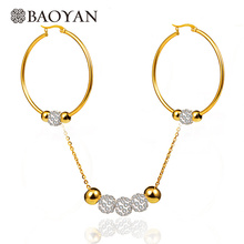 Stainless Steel Gold Color Crystal Ball Bead Necklace with Hoop Earring in Sets for Women(China)