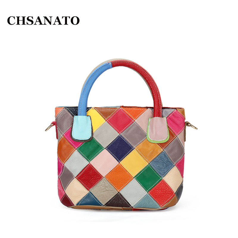 CHSANATO 100% Genuine Leather Patchwork Bag Cowhide Bucket Bag Women Shoulder Bag Colorful Handbags K580<br>