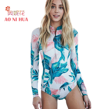 AONIHUA HOT One Piece Swimsuit Women 2017 Vintage Long Sleeve Push up Surfing Swimwear Print Female Front Zipper Bathing Suit(China)
