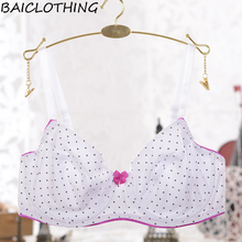 BAICLOTHING Womens 100% Cotton Full Coverage Underwire Dots Printing Bra Comfortable Lingerie 34 36 38 40 42 44 46 B C D E F