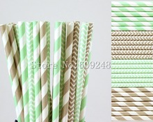 100pcs Drinking Party Paper Straws Mix,Mint and Grey Striped and Chevron,Gray Zig Zag,Eco Friendly,Disposable,Mason Jar Straws