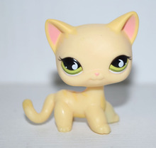Pet Shop Green Eyes Cream Yellow Short Hair Cat Kitty Figure Child Toy(China)