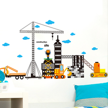 [SHIJUEHEZI] Height Measure Wall Sticker Construction Site Wall Decals for Kids Rooms Kindergarten Decoration adesivo de parede