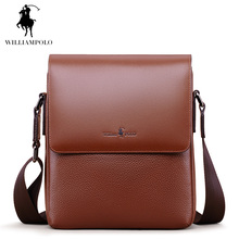 WILLIAMPOLO 2017 Vintage Cow Leather Flap Pocket Men Bag Shoulder Bags For Men Italian Leather Bags Brown POLO005D(China)