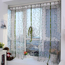 Rural Fresh Hand Embroidered Floral Tulle Sheer Voile Door Cafe Window Curtain