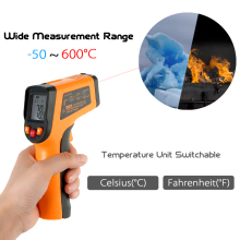 Meterk 12:1 Digital IR Infrared Thermometer LCD Temperature gauge practical Pyrometer + Backlight -50-600 Centigrade Degrees(China)