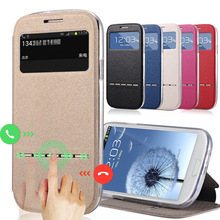 For Samsung Galaxy S3 i9300 Case Cases Stent TPU Leather Flip Window Protect Cover Case 3s black For S 3 SM i930(China)