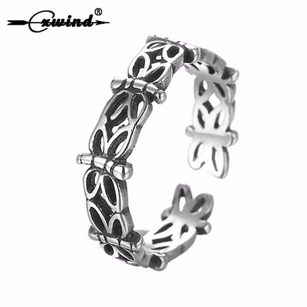 Cxwind Antique Silver Butterflies Stackable Ring Handmade Resizable Toe Foot Rings For Women Body Jewelry Punk Animal Accessary