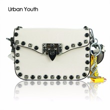 Hot Rivet Small Flap Shoulder Crossbody Bags Designer Brand Ladies Clutch Hand Bags High Quality PU Leather Women Messenger Bags(China)