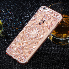 3D Stereoscopic Diamond Pattern Case For iPhone 5 5S SE 6 6s 7 multicolor Soft TPU Clear Crystal Rubber Mobile Phone Cover Cases(China)