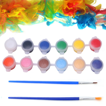 2017 Paints Set Oil Painting Nail Art Hand Wall Painting 12 Colors 2 Paint Blue Brushe apr14_30